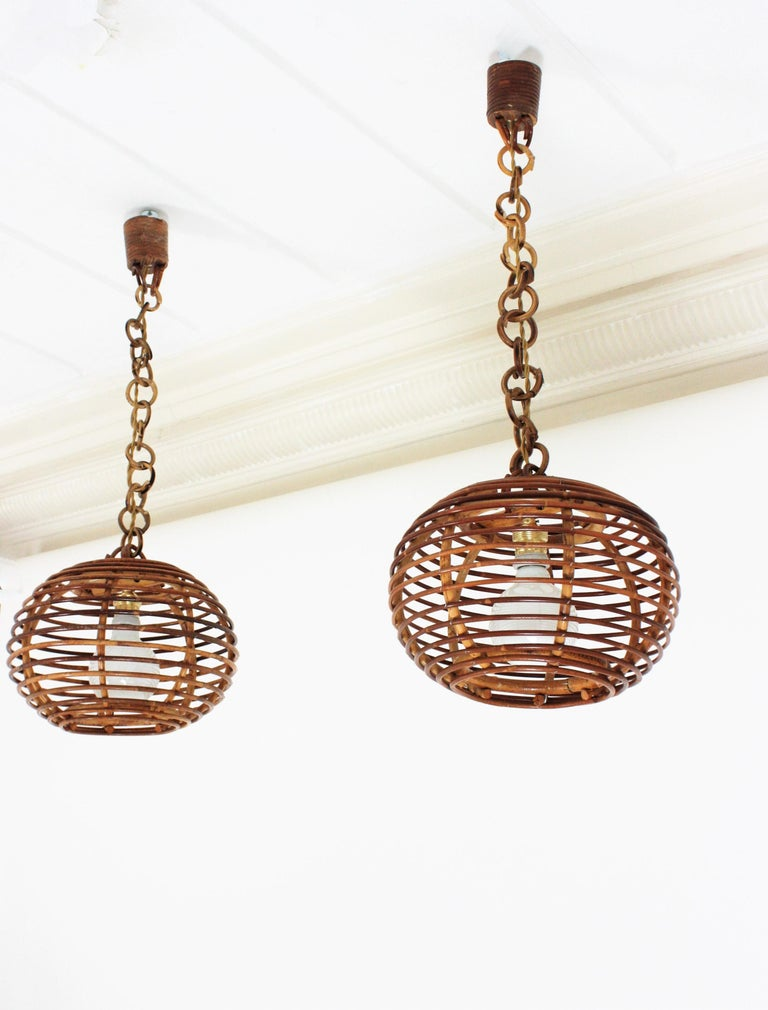 Pair of Rattan Globe Pendants or Hanging Lights, 1950s For Sale 3