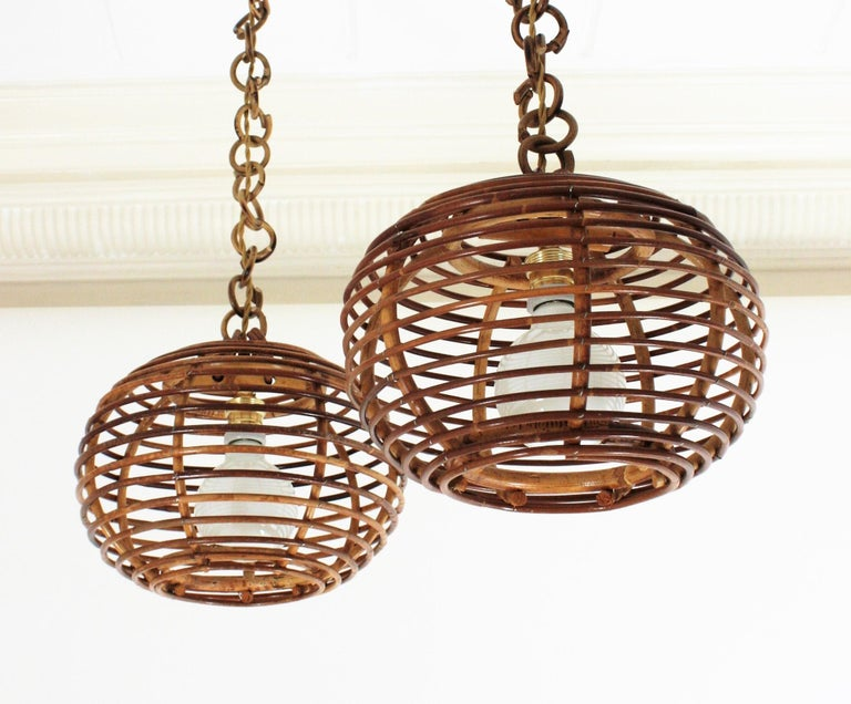 Pair of Rattan Globe Pendants or Hanging Lights, 1950s For Sale 5