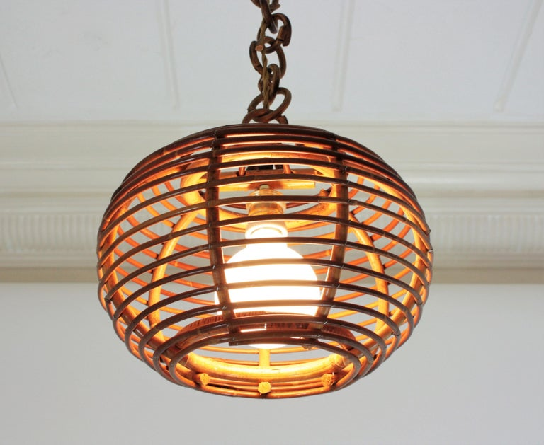 Pair of Rattan Globe Pendants or Hanging Lights, 1950s For Sale 6