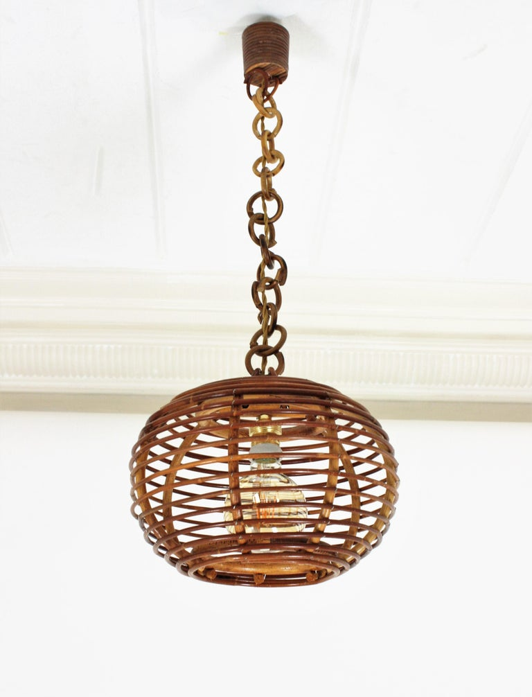 Pair of Rattan Globe Pendants or Hanging Lights, 1950s For Sale 7