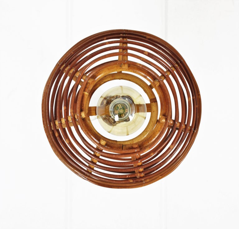Pair of Rattan Globe Pendants or Hanging Lights, 1950s For Sale 8