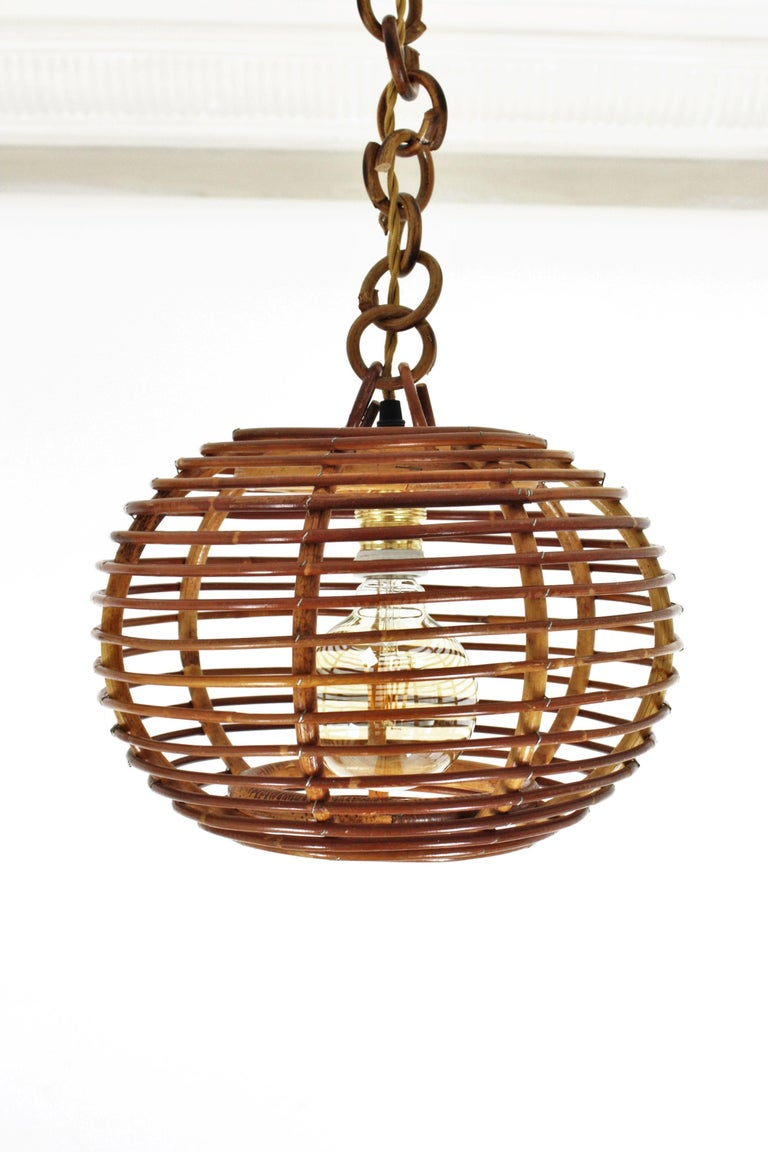 Pair of Rattan Globe Pendants or Hanging Lights, 1950s For Sale 9