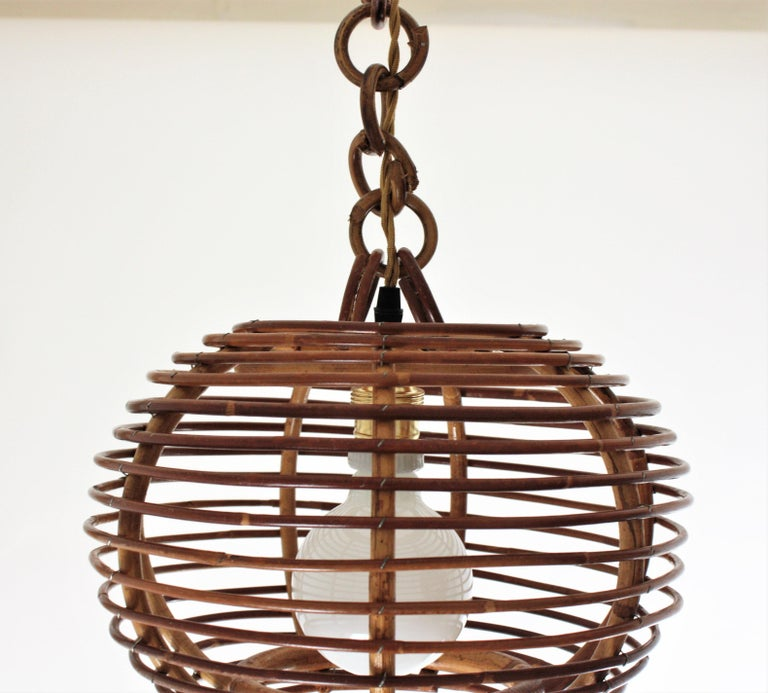 Pair of Rattan Globe Pendants or Hanging Lights, 1950s For Sale 10