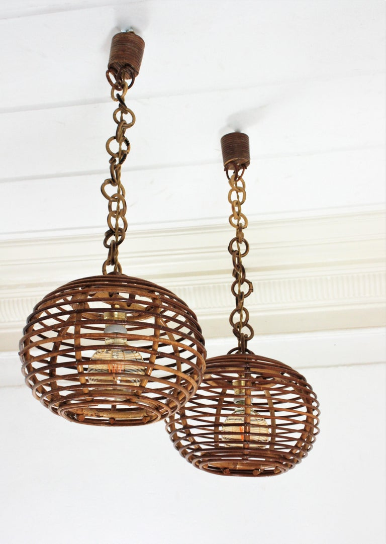Pair of Rattan Globe Pendants or Hanging Lights, 1950s For Sale 11
