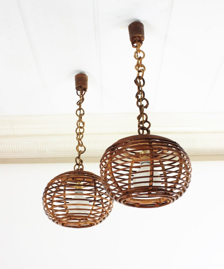 Pair of Rattan Globe Pendants or Hanging Lights, 1950s For Sale 13