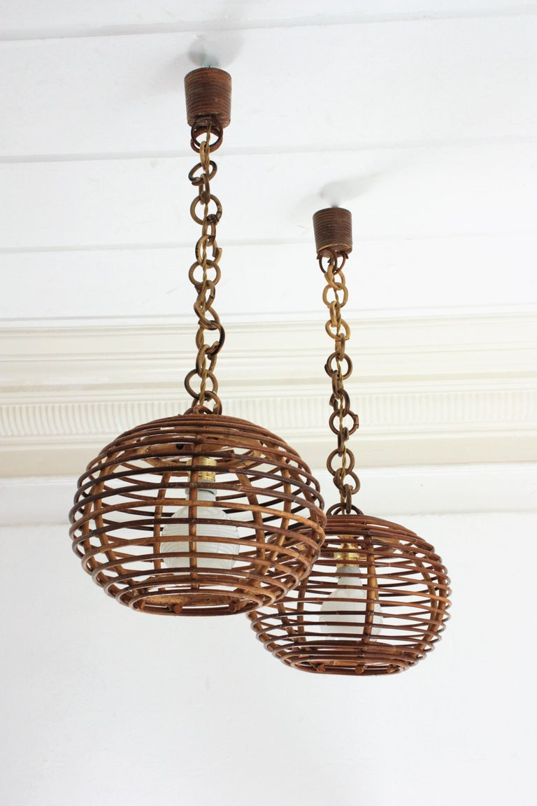 Spanish Pair of Rattan Globe Pendants or Hanging Lights, 1950s For Sale