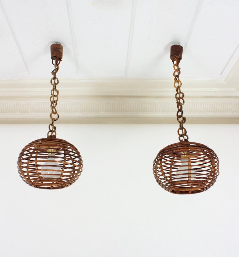 20th Century Pair of Rattan Globe Pendants or Hanging Lights, 1950s For Sale