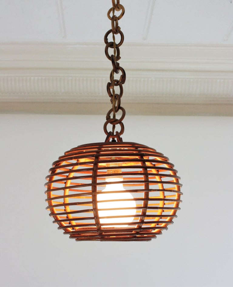Bamboo Pair of Rattan Globe Pendants or Hanging Lights, 1950s For Sale