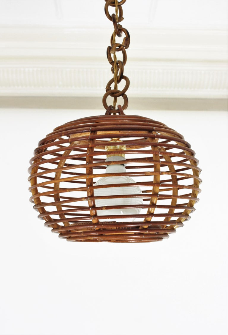 Pair of Rattan Globe Pendants or Hanging Lights, 1950s For Sale 1