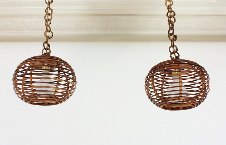 Pair of Rattan Globe Pendants or Hanging Lights, 1950s For Sale 2