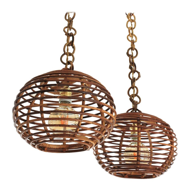 Pair of Rattan Globe Pendants or Hanging Lights, 1950s For Sale
