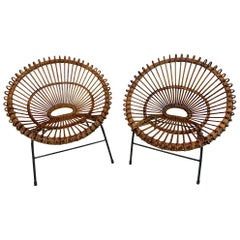 Pair of Rattan Hoop Chairs, Janine Abraham Dirk Jan Rol France, Restored