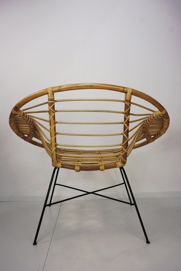 Pair of Rattan Lounge Armchairs For Sale 3