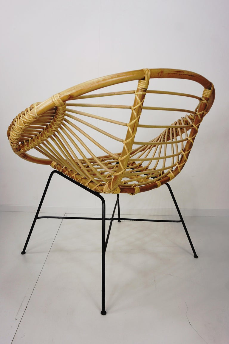 Pair of Rattan Lounge Armchairs For Sale 5