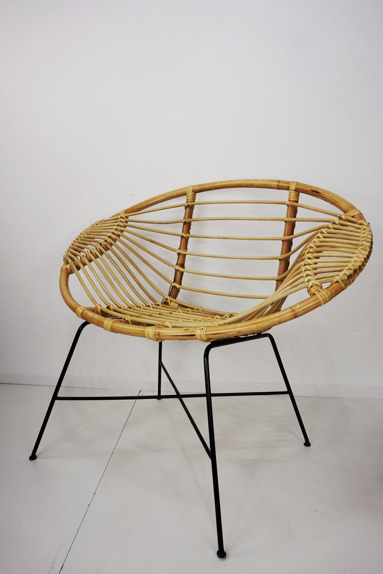 Pair of Rattan Lounge Armchairs For Sale 7