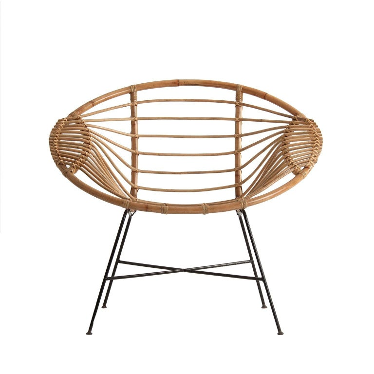 Pair of Rattan Lounge Armchairs For Sale 8