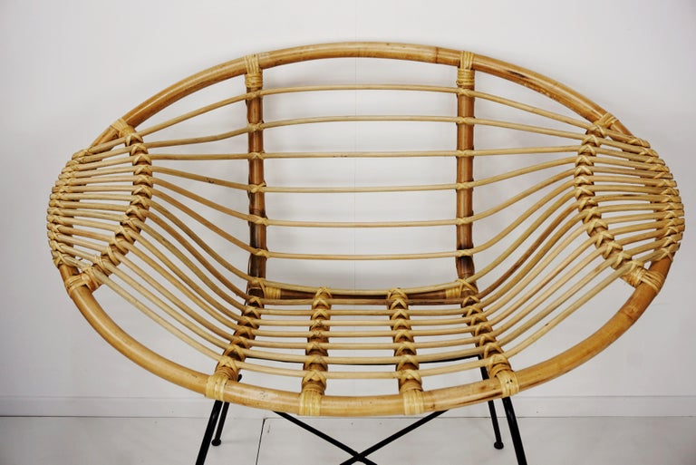 European Pair of Rattan Lounge Armchairs For Sale