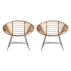 Pair of Rattan Lounge Armchairs