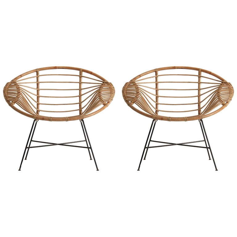 Pair of Rattan Lounge Armchairs For Sale