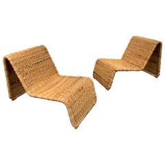 Pair of Rattan Lounge Chair, Italy, 1980s