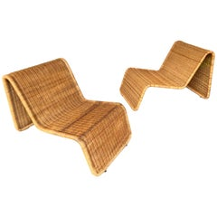 Pair of Rattan Lounge Chair P3 by Tito Agnoli, Italy, 1960s
