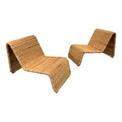 Pair of Rattan Lounge Chair P3 by Tito Agnoli, Italy, 1980s