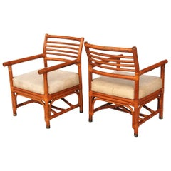 Pair of Rattan Lounge Chairs by Bryan Ashley
