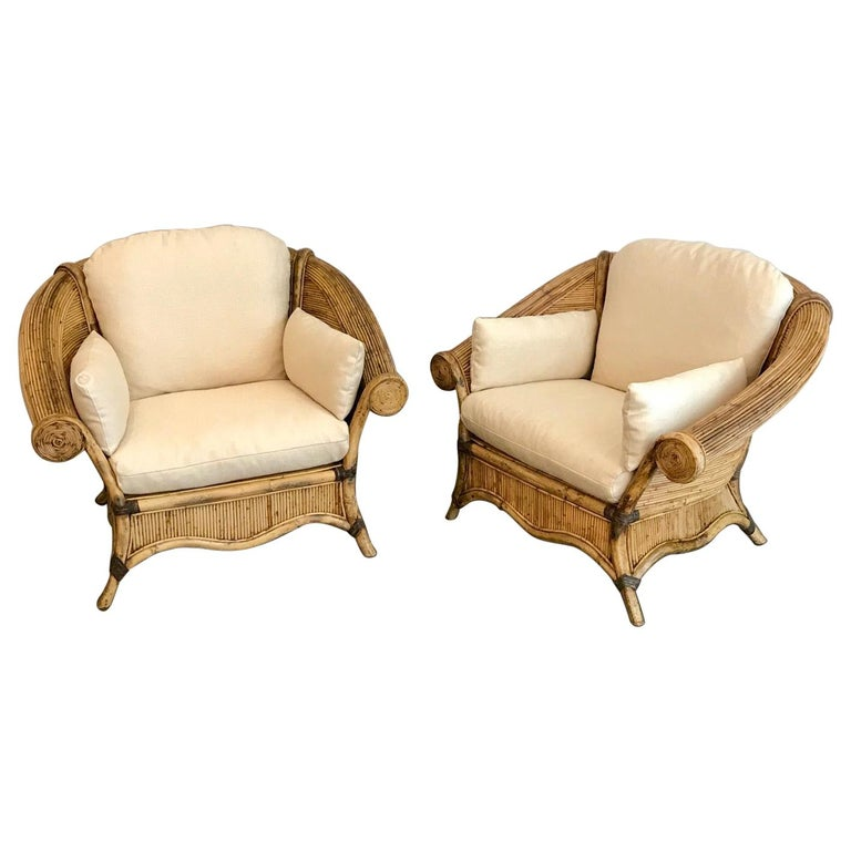 Pair of Rattan Lounge Chairs For Sale