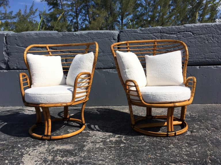 Pair of Rattan Lounge Chairs Faux Sheepskin For Sale 3