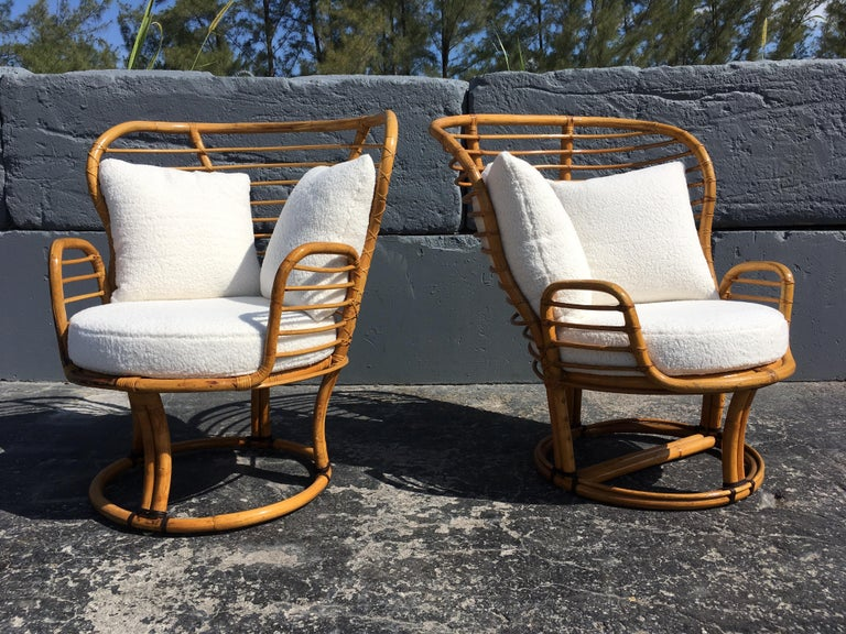 Pair of Rattan Lounge Chairs Faux Sheepskin For Sale 4