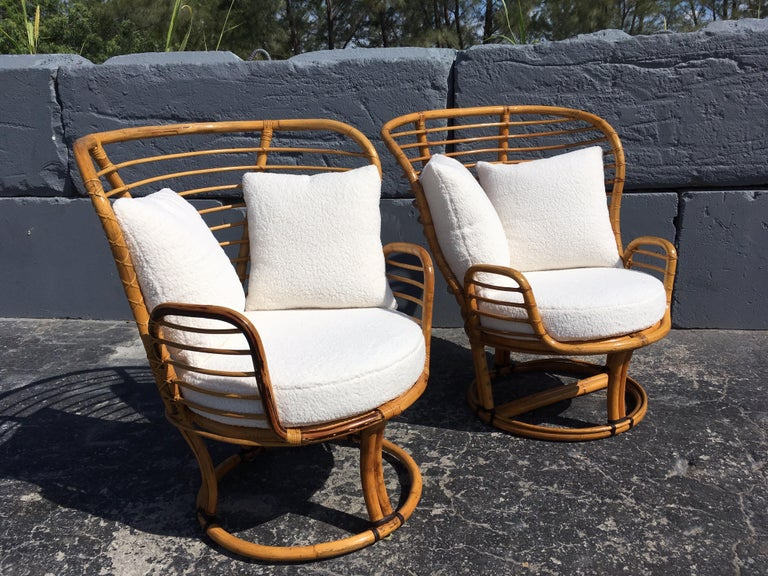 Pair of Rattan Lounge Chairs Faux Sheepskin For Sale 5