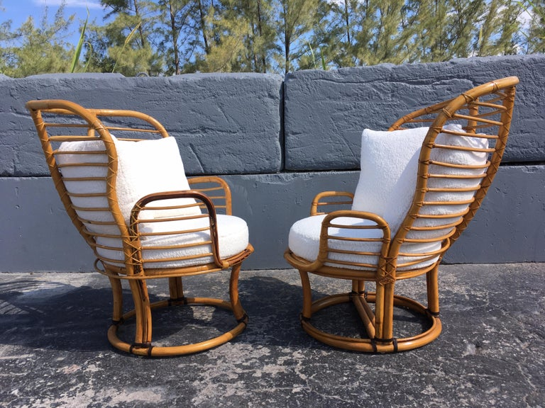 Pair of Rattan Lounge Chairs Faux Sheepskin For Sale 6