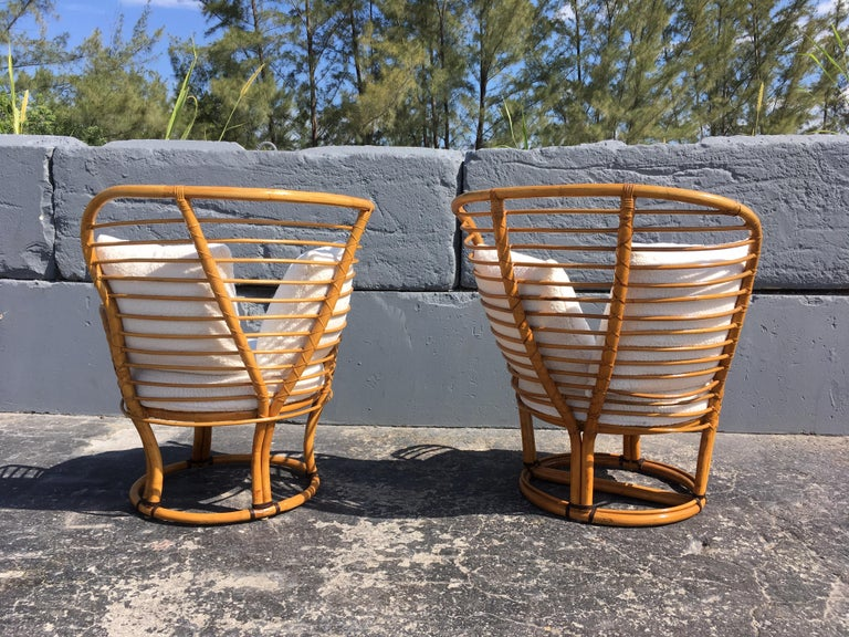 Pair of Rattan Lounge Chairs Faux Sheepskin For Sale 7