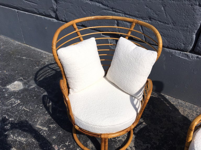 Pair of Rattan Lounge Chairs Faux Sheepskin For Sale 8