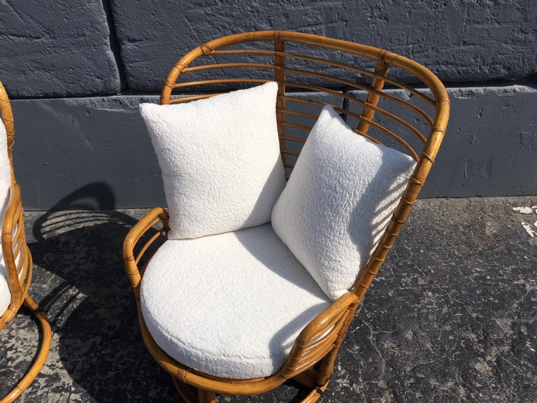 Pair of Rattan Lounge Chairs Faux Sheepskin For Sale 9