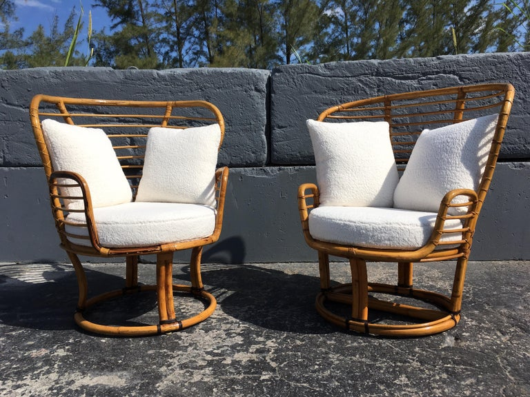 Pair of Rattan Lounge Chairs Faux Sheepskin For Sale 11