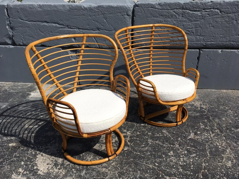 Mid-Century Modern Pair of Rattan Lounge Chairs Faux Sheepskin For Sale