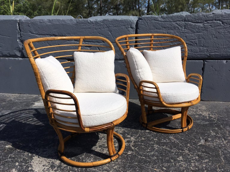 Philippine Pair of Rattan Lounge Chairs Faux Sheepskin For Sale