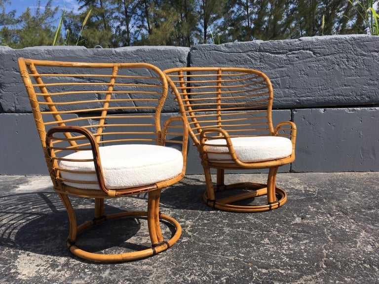 Pair of Rattan Lounge Chairs Faux Sheepskin In Good Condition For Sale In Opa Locka, FL