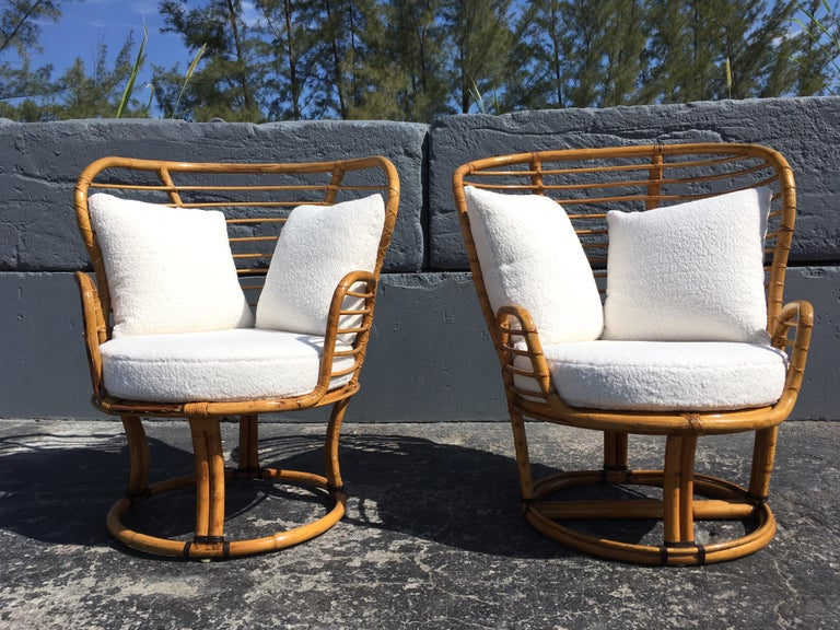 Fabric Pair of Rattan Lounge Chairs Faux Sheepskin For Sale
