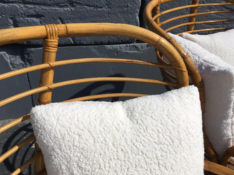 Pair of Rattan Lounge Chairs Faux Sheepskin For Sale 1