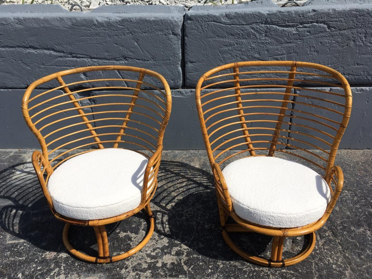 Pair of Rattan Lounge Chairs Faux Sheepskin For Sale 2