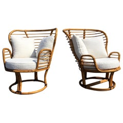 Pair of Rattan Lounge Chairs Faux Sheepskin