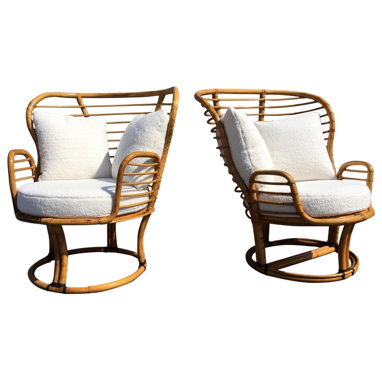 Pair of Rattan Lounge Chairs Faux Sheepskin For Sale