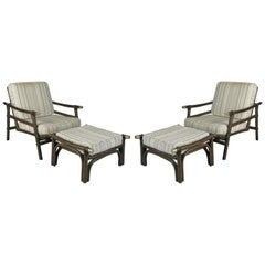 Pair of Rattan Lounge Chairs & Ottomans Style of Ficks Reed