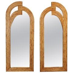 Pair of Mid-Century Modern Rattan Mirrors