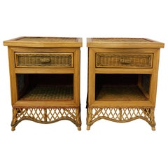 Pair of Rattan Nightstands Side Cabinets Bedside Tables French, circa 1990