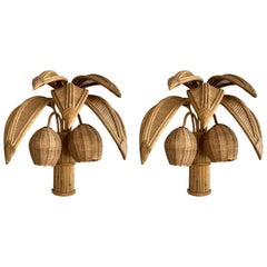Pair of Rattan Palm Tree Sconces, France, 1980s