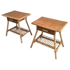 Pair of Rattan Side Tables, Circa 1970