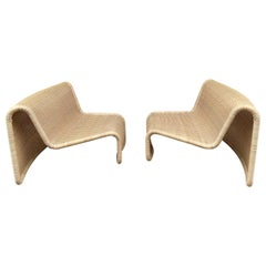 Pair of Rattan Slipper Chairs T by Tito Agnoli, Italy, 1970s